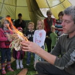 Visitors were enthralled as Chris Holland from Otterton demonstrated the art of making fire using just sticks at Otterton Mill's Apple and Game Day on Saturday. Photo by Simon Horn. Ref shv 2966-43-11SH To order your copy of this photograph visit www.sidmouthherald.co.uk and click on myphotos24